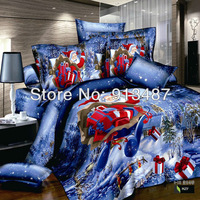 christmas gift Santa Claus red 4pcs bedding set full queen king size doona duvet covers quilts comforter pillow bed Linen sets