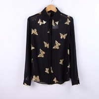 1pc/lot , 2013 New Stylish ZA Butterfly Print Chiffon Shirt Long Sleeve Turn-Down Collar Blouse Women Tops