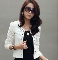 2013 spring and autumn blazer slim plus size coat casual ol rhinestones rivet female short jacket