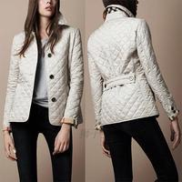 2014 Hot new high quality Fashion ladies' jacket fashion women's jacket b single breasted plaid wadded jacket trench coat