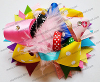 Free shipping 10pcs/lot Large Hair Bow with Feather baby Headwear Christmas gift HG337