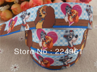 "2013 new arrival 1"" (25mm) Lady and the Tramp printed grosgrain ribbon cartoon ribbon hair bows 10 yards"
