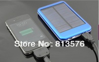 FREE 4 colors 5000mah portable solar power bank USB external solar battery panel charger for phone with retail box free shipping