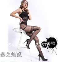 Free Shipping Women's Vogue Charming Check Net Elastic Design Slim All Match Summer Tights Panty-hose Black WZ13041201