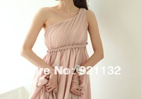Free Shipping 8981 Romantic Greek Goddess Elegant Single Shoulder High Waist Pleated Maxi Long Dress Wedding Bridesmaid Dress