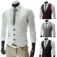 Cool Fashion Men Slim V-Neck Formal Suit Vest coat Plus Size  XXL 4 Color All-Match Male Solid White Grey Black Vest Jackets