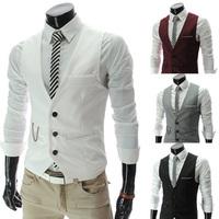 Cool Fashion Men Slim V-Neck Formal Suit Vest coat Plus Size  XXL 4 Color All-Match Male Solid White Grey Black Vest Jackets