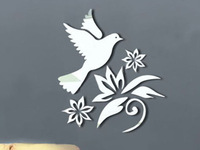 Baby room child housing decoration mirror wall stickers cartoon flowers dove B0009