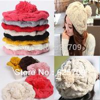2014 Lady Women Winter Hats Girls' Warm Wool Twist Knitted Hat Fashion Beanies For Women Flowers Cap Hot Selling Free Shipping