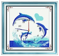 free shipping Cmc cross stitch kit elegant paintings clock j166 dolphin lover  animal