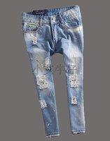 5xl 4xl size 40 waist 102 100kg hip 118 110cm waist knee trousers hole painted mm knee length trousers fashion plus size  length