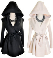 New Women Fashion  Hooded Long Sleeve Windbreaker Jacket Fold Coat Tops Free Shipping