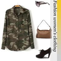 2013 Brand Women's Cotton Shirt Army Green Print Turn-down Collar  Euro Style Plus Size Women Blouse  Freeshipping DFWS-00026