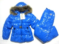 Free shipping New 2013 fashion winter clothing Boys Girls Brand down jacket bright side Conjoined Children suit Down