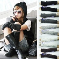 Free shipping 2 pair woman's fashion Fingerless arm mitten winter warm lady cotton knitted long Sleeve gloves crotch leaf G32