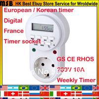 16A 250V EU france Korea children protector save electricity power green 7 days weekly european socket time switch digital timer