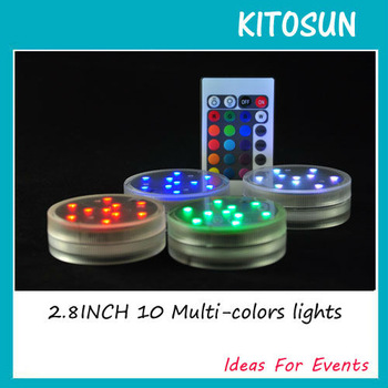 Free Shipping 4pcs/pack Remote controlled Submersible 10 Multi-colors Centerpiece Light for Weddings & Special parties