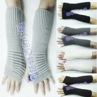 Free shipping 2 pair woman's fashion Fingerless arm mitten winter warm lady wool yarn knitted long Sleeve gloves stripe G51