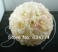 Hot Sell! 2Pcs 7.5 inch Wedding Decor Romantic Super Flower Kissing Ball Cream Pink Pearl Tip k0200