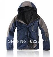 Free shipping Men's 2in1 jacket inside waterproof windproof outdoor jacket camping &hiking jacket winter jacket outerwear 5COLOR