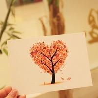 4 pcs/lot Free Shipping Season Tree Birthday Postcard Greeting Mini Cards Gift Thank You Note Lomo Card Christmas Postcards #185