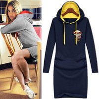2013 women's long-sleeve dress with a hood one-piece dress plus size casual