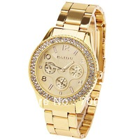 New!! Paidu 58917 Women Watch Arabic Numbers and Rectangle Hour Marks with Round Dial Steel Watchband - Golden
