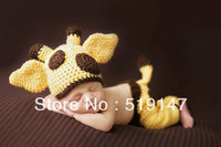 Free shipping cute giraffe style baby hat and pants handmade crochet photography props baby hat and pants