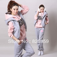2013 autumn and winter women casual long trousers vest sports set sweatshirt piece set fashion thickening