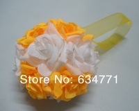"Hot Sell! 4 Pcs 4 "" Yellow And White Two Color Kissing Ball Flowers Ball Crystal Pew Bows Wedding Party Supplies k0202"
