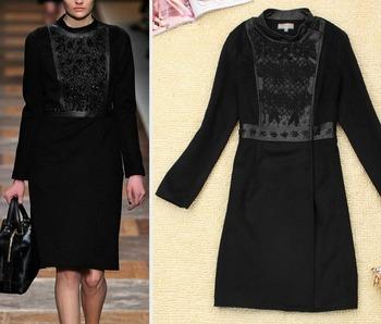 Fashion Runway Women's wool Coat Beaded Hand Embroidery Long Sleeve Knee-Length Black Coats Autumn Winter Free Shipping