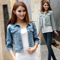 Short design denim outerwear female spring and autumn all-match denim coat half sleeve denim outerwear denim top