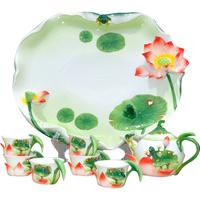 Free Shipping Hot Selling Porcelain Tea Set Wedding Gift Tea Tray Tea Service Chinese Vintage 6 Pieces Teapot 1 Tea Dish