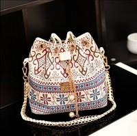 2014 New Models Women Shoulder Bag Chain Bucket  Bag Messenger Bag Wind Flower Women's Handbag Canvas Bag Free Shipping