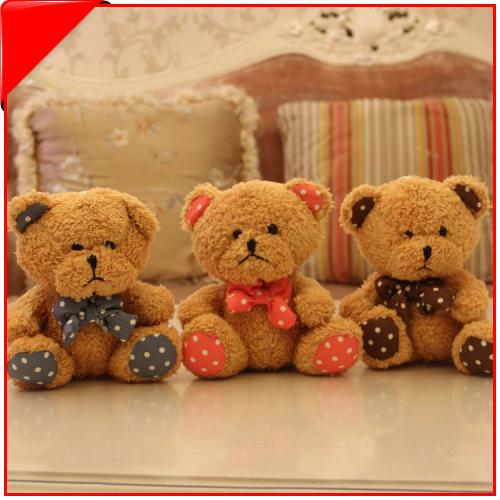 18cm Dot Collar Tiddy Bear Plush Toy 7 Inch Doll PP Cotton 12Pcs/Lot Free Shipping(China (Mainland))