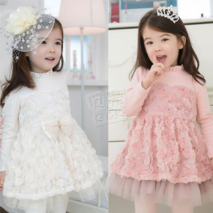 2013 autumn elegant rose girls clothing baby child long-sleeve dress qz-0537