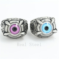 Hot Sell! Dinosaur Claw Ring Fashion Jewelry Arabesquitic Gothic Ghost Ring Blue&Pink Eye Cool Ring Stainless Steel Eyeball Ring