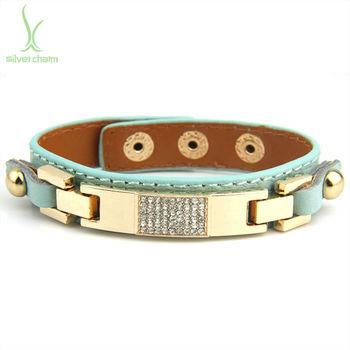 Новое прибытие Натуральная кожа браслет сплава с Crystal ювелирные изделия для женщин ...