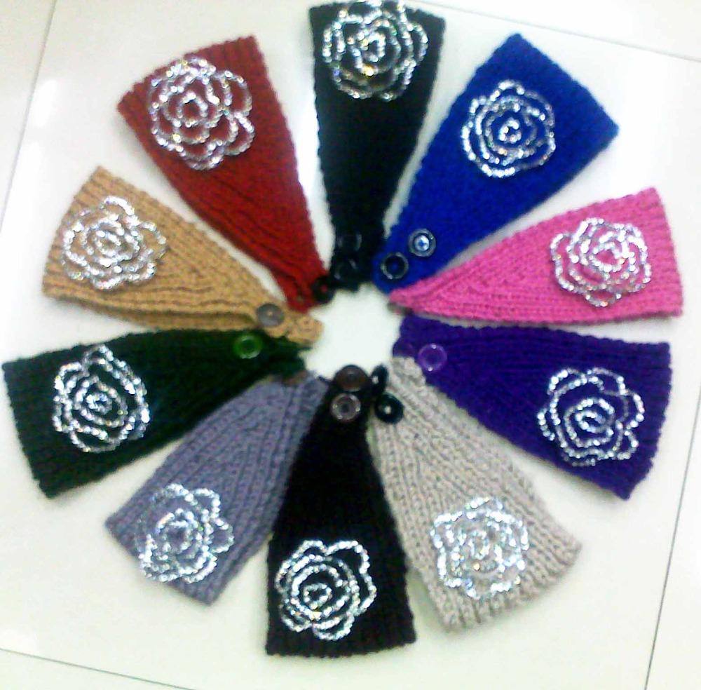 EMS/DHL Free Shipping wholesale Handmade knitting headbands crochet flowers woman knit Rhinestones headband 10 colors head wrap(China (Mainland))