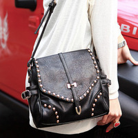 Brand 2013 fashion women handbags high quality riveting designers shoulder bags for woman genuine PU leather retro messenger bag