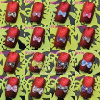 95110 wholesale 500pcs Nail Art 3D Bow Tie  Resin Nail Art decoration with rhinestone Tips Decoration Gel Nail  free  shipping