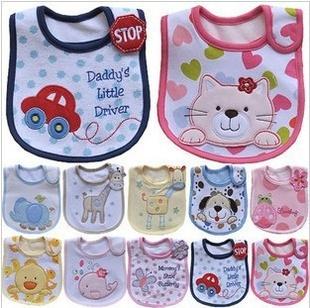 Baby Bib three layers of Waterproof Bib / slobber towel brand cartoon girl baby boy baby bib cat dog deer car Pink Blue freeship