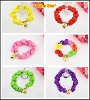Wholesale 7 Color Fashion Flower Bead Heart Pendant Charm Bangle Bracelet Jewelry Items For Women jewelryB51