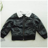 Ploughboys male child black leather coat fur collar white