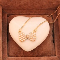 Fashion cheap pearl bow necklace wholesale Jewelry ! cRYSTAL sHOP