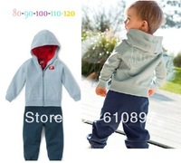2013New children suit,2pcs  ( Coat + pants )Boys long sleeve hooded outfit,3size  1set/lot,Free Shipping