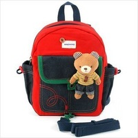 Free Shipping 2013 New Baby Cartoon Backpack Kid's Schoolbag Anti-Lost Shoulder Bags Children's School Bag Rabbit And Bear