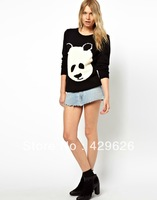 2013 Hot Sale Long Sleeve O-neck Panda Sweater Women Pullovers Sweater 0205