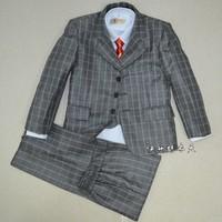 Classic plaid 2013 child suit male child formal dress children's clothing suit flower girl male child suit 5 piece set