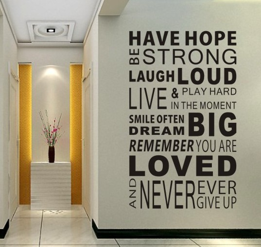 Free shipping have hope sticker family rules home decor for Home decor quotes on wall